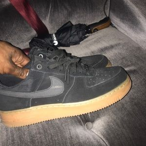 Nike black suede wheat bottoms